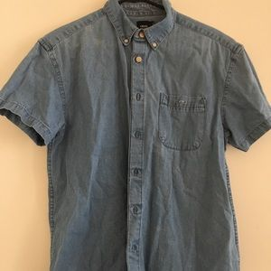 Short sleeve, button down denim shirt